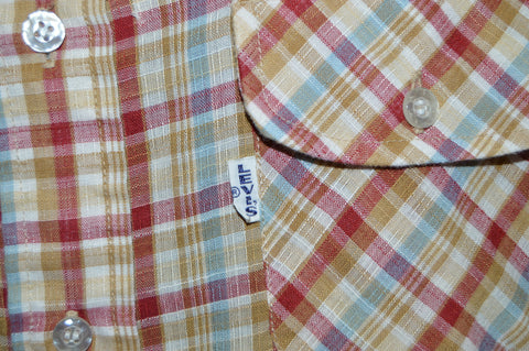 70s Levis Wildfire Big E Red Brown Plaid Shirt Large