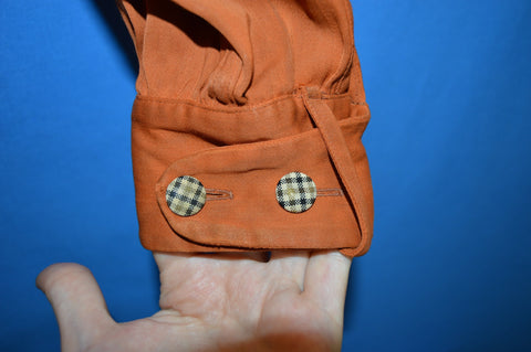 50s Casual Campus Orange Plaid Rayon Rockabilly Shirt Medium