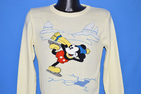 80s Mickey Mouse Disney Ice Skating Sweater Small
