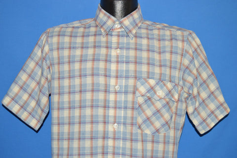 90s Levi's Blue White Red Plaid Shirt Medium
