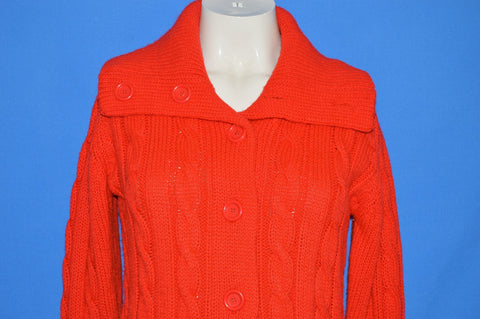 80s Susan Ess Red Cable Knit Acrylic Sweater Women's Small