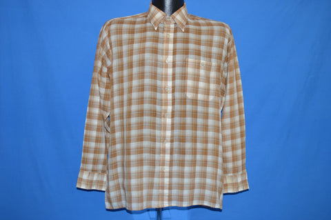 80s Bamberger's Brown White Plaid Button Down Shirt Large