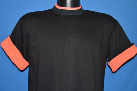 90s Black Neon Pink Roll Up Sleeves Deadstock t-shirt Large