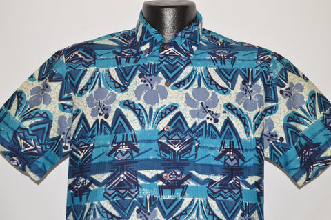 50s Iolani Blue Flowered Aloha Hawaiian Shirt Medium