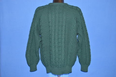80s Carraig Donn Green Aran Sweater Large