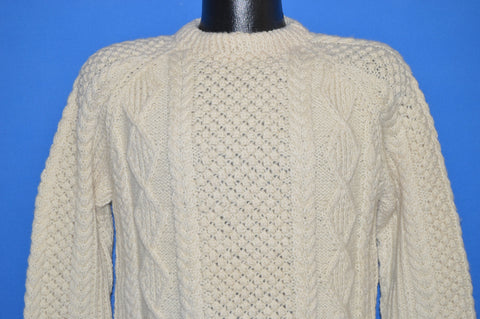 80s Blarney Wool Aran Irish Cable Sweater Small