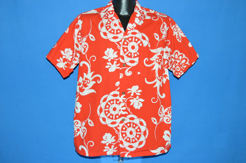 50s Red White Aloha Hawaiian shirt Large