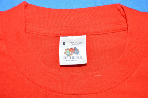 80s Red Fruit of the Loom 100% Cotton blank t-shirt Small