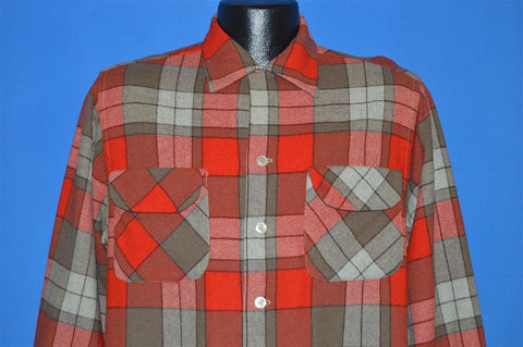 50s Chippewa Plaid Wool Button Down shirt Medium