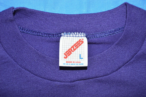 80s Purple Blank JERZEES Cotton Blend t-shirt Large