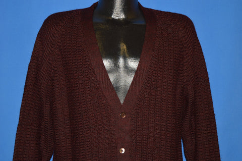 60s Maroon Italian Wool Cardigan Sweater Large