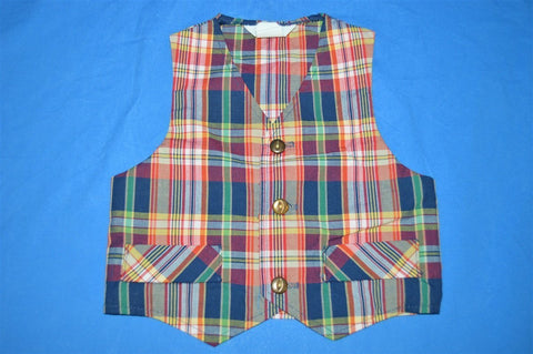 70s Plaid Button Front Vest Toddler 2T