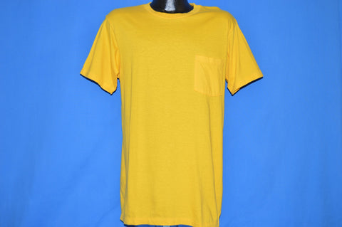 80s Yellow Blank Hanes Cotton Pocket t-shirt Large