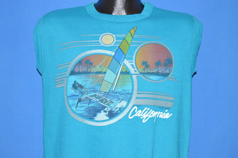 80s Ocean Pacific California Sailboat Sunset Sleeveless Sweatshirt Large