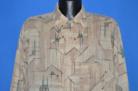 70s K Mart Geometric Big Collar Disco Shirt Extra Large