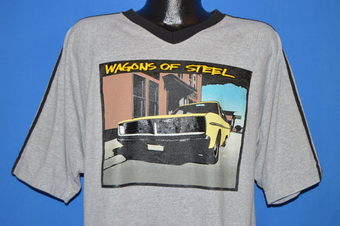 90s Wagons Of Steel Classic Car V-Neck t-shirt Large