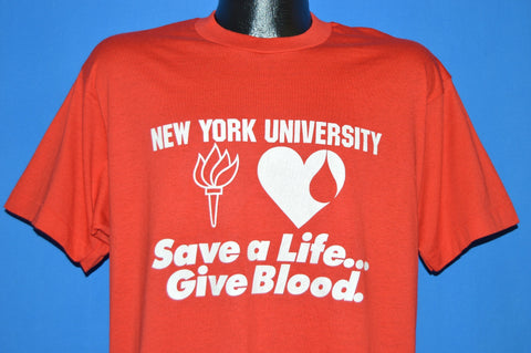 80s New York University Give Blood t-shirt Large