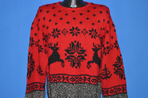 90s Ralph Lauren Reindeer Snowflake Winter Sweater Large