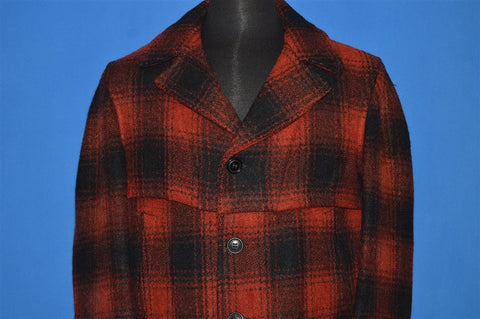 50s Red Black Wool Mackinaw Checked Coat Large