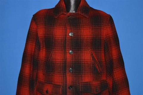 50s Red Black Mackinaw Wool Hunting Jacket Medium