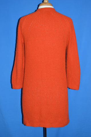 70s Bulky Knit Acrylic Women's Long Cardigan Sweater