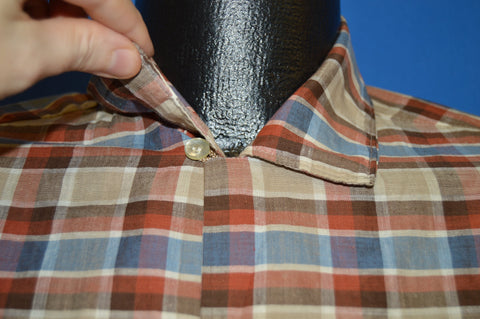 50s California Loop Collar Plaid Button Down shirt Large