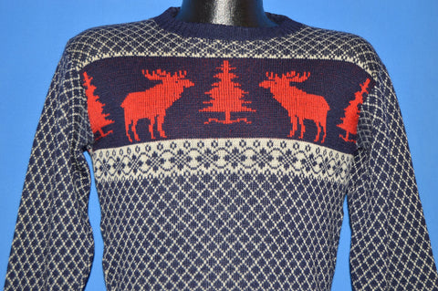 50s Walsted Snowflake Moose Winter Wool Sweater Small