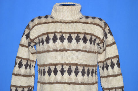 70s Nordic Geometric Wool Turtleneck Sweater Small