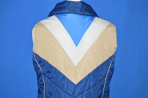 80s Blue Chevron V Puffy Nylon Women's Ski-Vest Medium