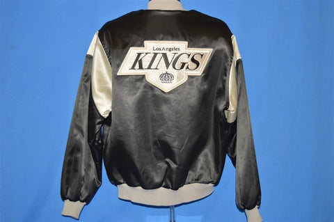 80s Los Angeles Kings Satin Snap Up Jacket Large