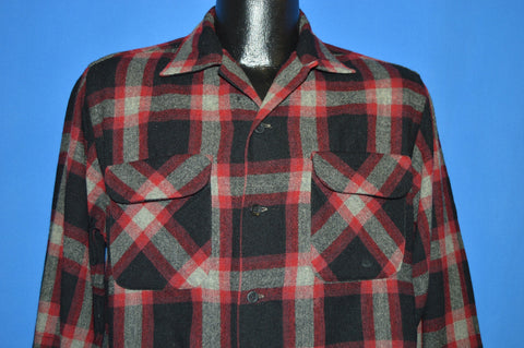 50s Highlander Plaid Wool Button Down shirt Medium