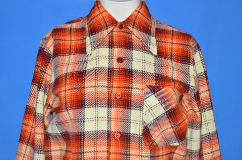 70s National Plaid Button Down 1940s Style shirt Small
