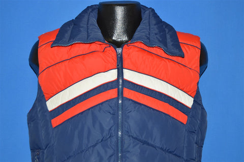 80s Mountain Goat Blue Red White Nylon Puffy Ski Vest Small