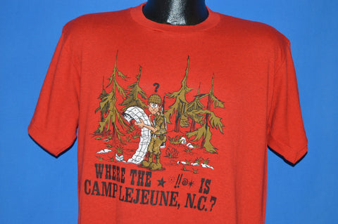80s Where The @#% Is Camp Lejeune NC USMC t-shirt Large