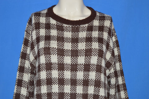 80s Brown And White Checkered Women's Sweater Large