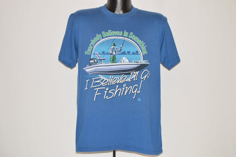 80s Everyone Believes In Something Fishing t-shirt Large