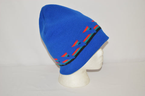 80s Geometric Blue Acrylic Knit Winter Beanie