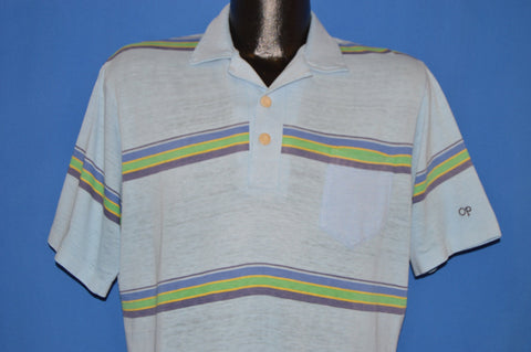 80s OP Ocean Pacific Striped Surf Polo shirt Medium