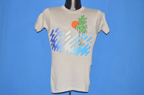 80s Ocean Sunset Palm Trees Deadstock t-shirt Extra Small