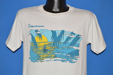 80s Merrill Lynch Sunset Sailboat Palm Tree t-shirt Medium
