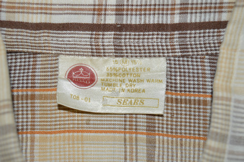 80s Kings Road Sears Plaid Button Front Men's Shirt Medium