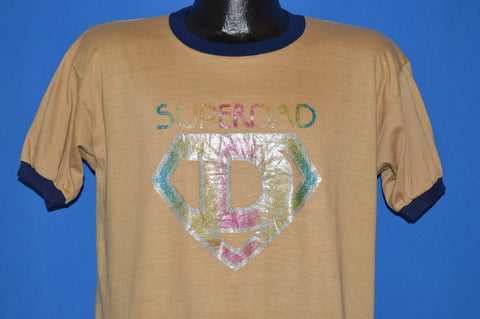 70s Super Dad Glitter Iron On Ringer Father t-shirt Large