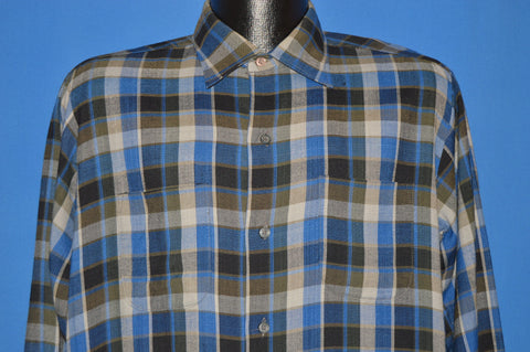 60s Morval Plaid Square Bottom Rayon shirt Medium