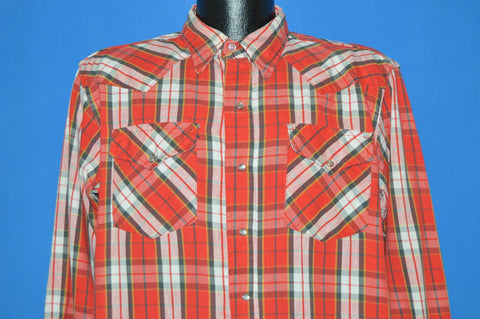 80s Big Mac Plaid Western Pearl Snap shirt Large