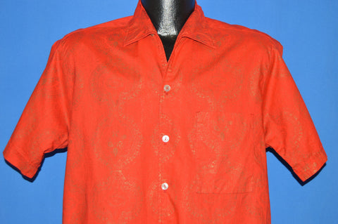 60s Sears Red Gold Loop Collar Hawaiian shirt Medium