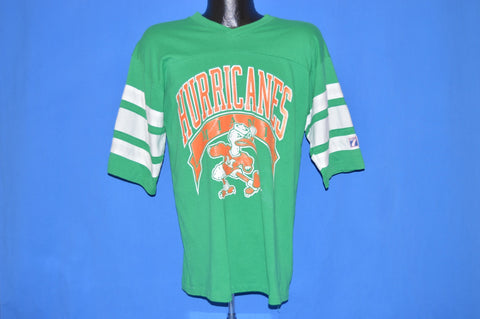80s Miami Hurricanes Green Striped Logo 7 Jersey t-shirt Large