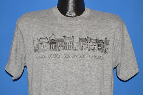 80s Boston Massachusetts Row Homes Rayon t-shirt Medium