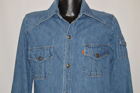 70s Levis Orange Tab Heavy Denim Shirt Medium