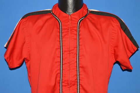 60s Pincus Liquors Red Striped Zip Front Baseball Jersey Medium
