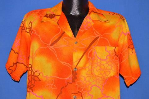 60s Barefoot Trader Neon Orange Flowered Hawaiian shirt Large